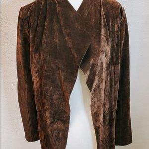 Ecru 100% Geunine Leather Suede Open Front Coat